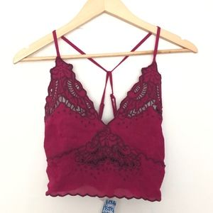 NEW Free People Embroidered Bralette Raspberry